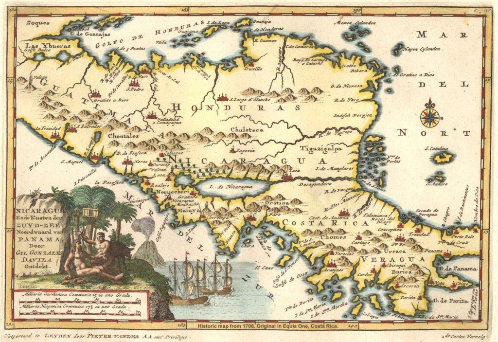 Equis Rallyes Mittelamerika Historische Karte 1706