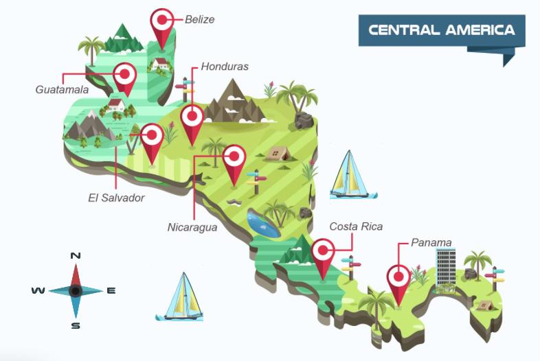 Historische Rallye Reise Mittelamerika Karte