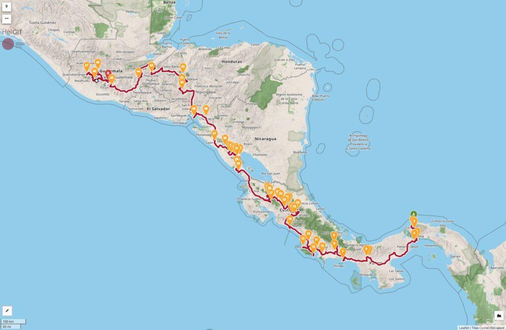 Oldtimer Rallye Reisen Mittelamerika La Carrera Panamericana del Sur Rally Karte